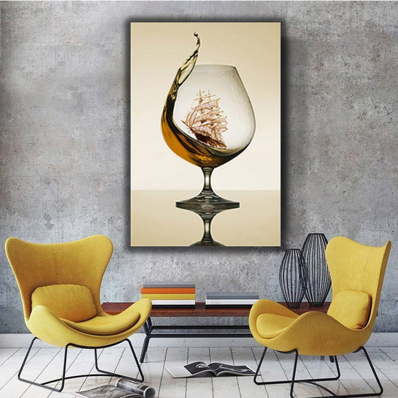 Modern Romantic Wine Glass With Sailboat Abstract Canvas Art Wall Picture For Gallery Dining Room Bar Home Decor Poster No Frame