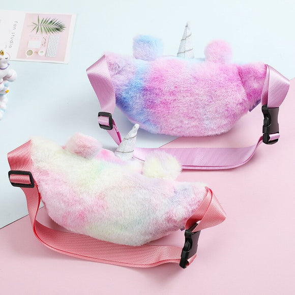 2020 Unicorn Waist Bag Plush Toy Kids Fanny Pack Cartoon Plush Women Belt Bag Fashion Travel Phone Pouch Chest Bag