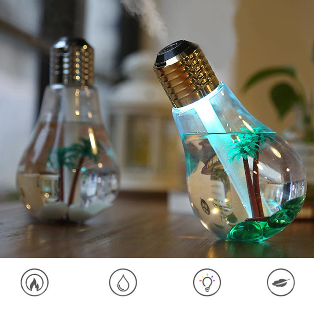 Home Office Colorful Light Bulb Humidifier Air Ultrasonic USB 400ML Essential Oil Diffuser Atomizer Freshener Mist Maker