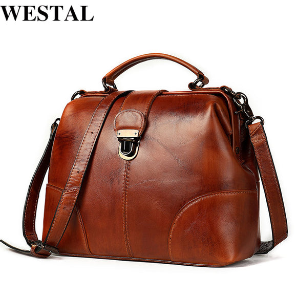 WESTAL Women's Genuine Leather Bag Fashion Women Leather Handbags Messenger Bag Woman Shoulder Crossbody Bags Female Totes 7046