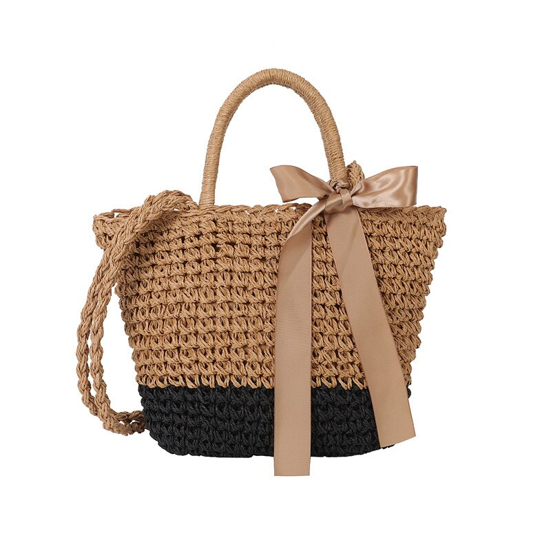 Summer rattan ladies handbag Ribbon beach bag large capacity holiday handbag handmade straw bohemian Shoulder Bag Chic Straw Bag