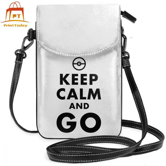 Pokemon Ball Shoulder Bag Keep Calm And GO Pokemon Go Leather Bag Slim Crossbody Women Bags Student Trendy High quality Purse
