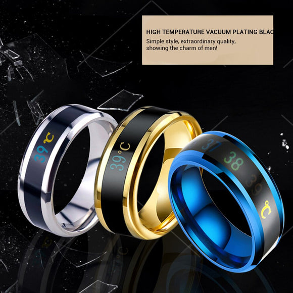 Multifunctional Waterproof Temperature Sense Intelligent Smart Ring Finger Wear Changing Color Temperature Ring