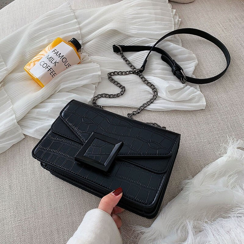 Stone Pattern Pu Leather Crossbody Bags For Women 2019 Small Alligator Shoulder Messenger Bag Female Luxury Chain Handbags Purse