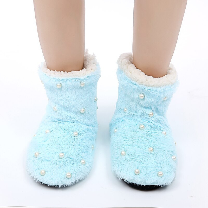 2020 Women Slippers Fur Slides Winter Coral Fleece Indoor Floor Shoes Warm Furry Soft Slippers Pearl Plush Shoes
