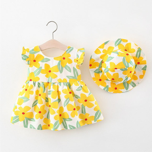 Summer Baby Girl Dress With Hat Bowknot Clothes Princess Dress Outfits Sunsuit Lemon Bowknot Cute Summer 0-3Y