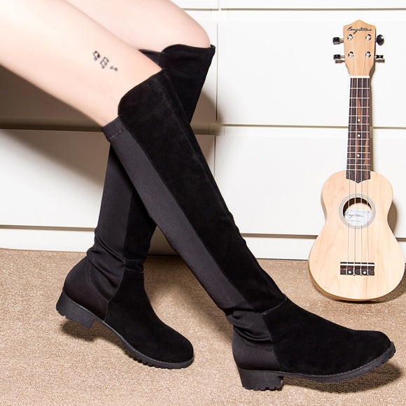 Women Over The Knee Boots 2020 Spring Thigh High Suede Ladies Black Long Booties Elastic 4cm Block Heels Shoes Size 34-43