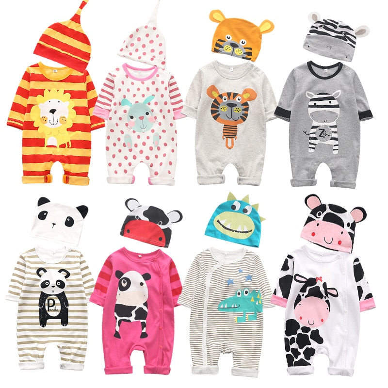 Lovely Cartoon Panda lion costume Newborn baby boy's girls clothing autumn long sleeve baby cotton rompers with Hat jumpsuits
