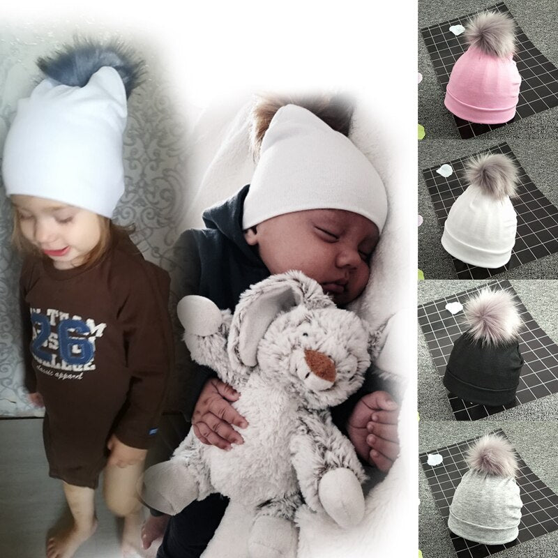 Kids Cotton Hats Baby Detachable Pom Pom Photo Props Newborn Children's Kids Hat Boy Accessories Toddler Girl Cap Bonnet Hat