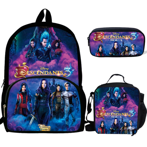 CALOPAKER 3PCS School Bag Set Descendants 3 Printing School Backpack For Teenagers Boys Girls Student Travel Book Bag Schoolbags