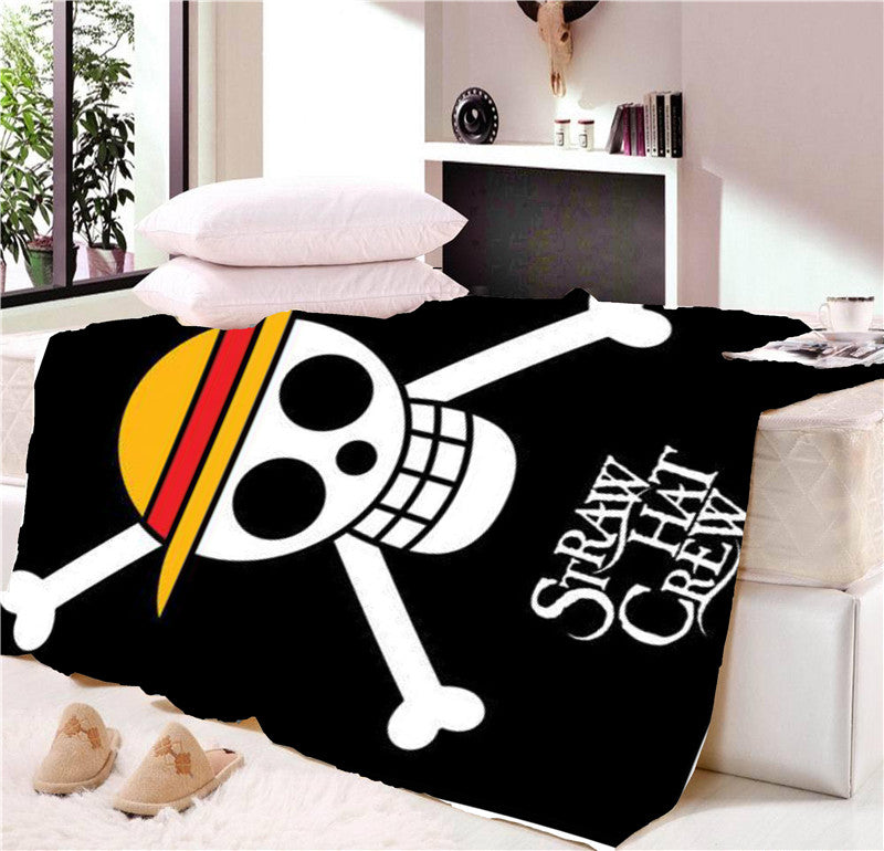 Anime One Piece Straw Hat Crew Sonic Blanket Mat Tapestry Soft Warm Travel Cover Bedspread Beach Towel Mat Blanket Table Cosplay