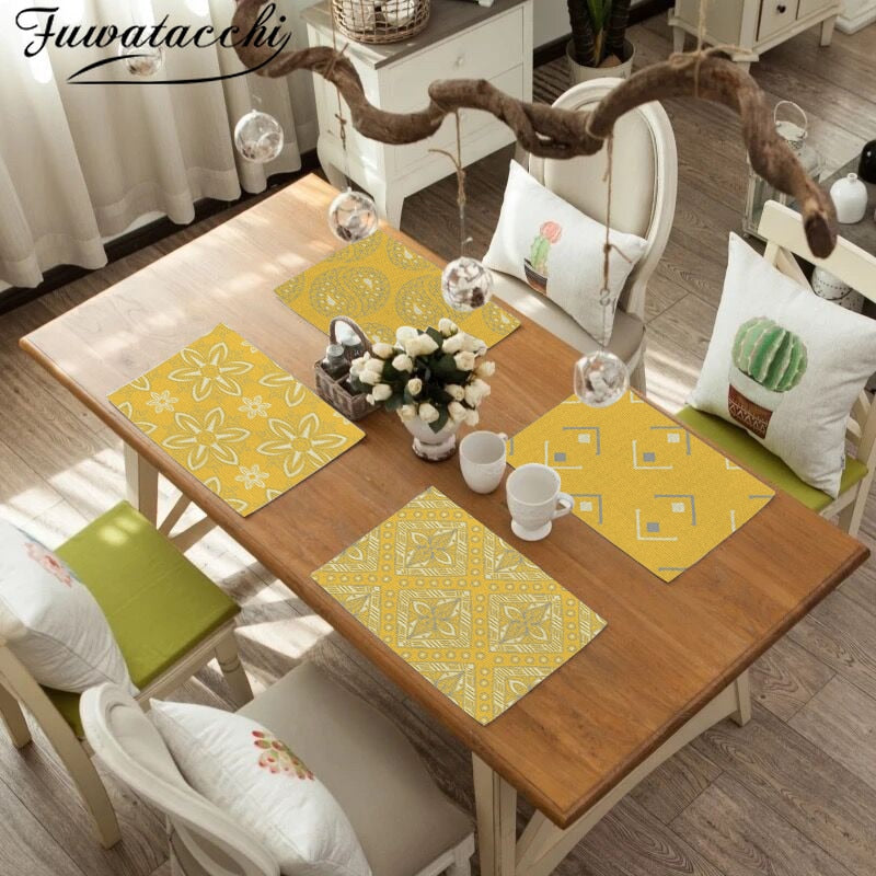 Fuwatacchi Yellow Placemat Simple Style Dessert Drink Coasters Tea Party Decorations Rectangle Table Mats Dining Table Wedding