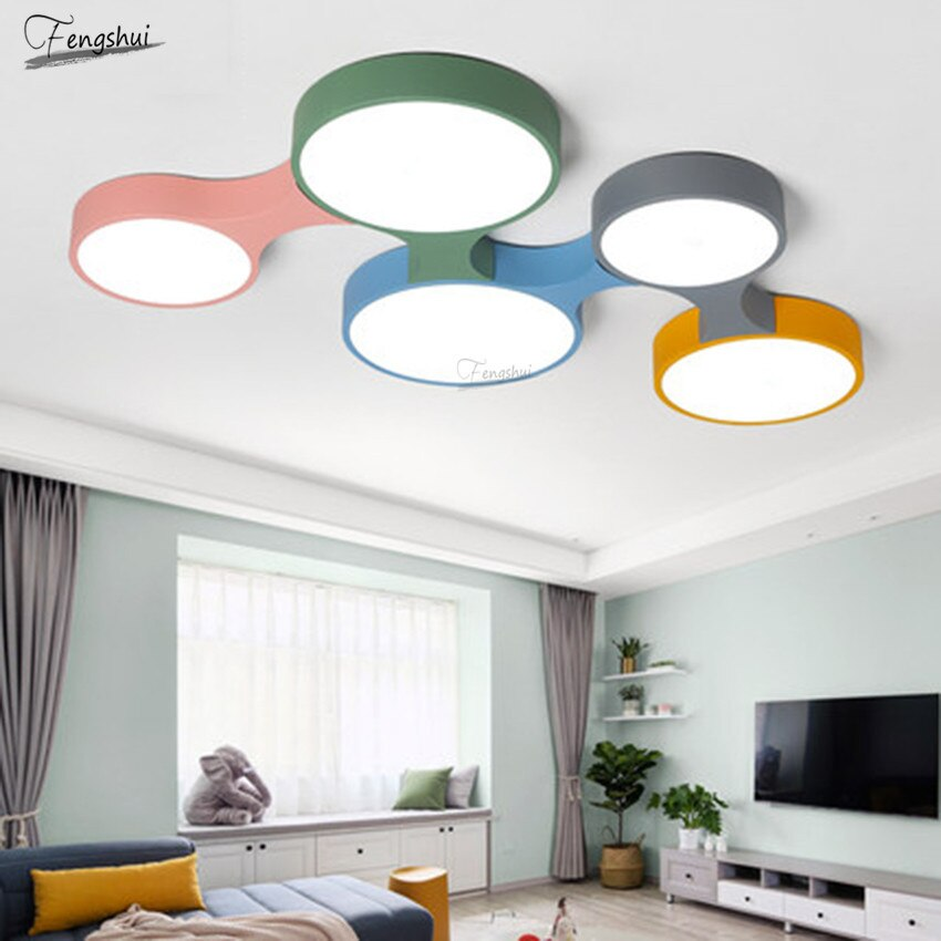 Modern Creative Macaron LED Ceiling Lights Nordic Design Loft Living Dining Room Hanging Lamp Children's Room Bar Deco Luminaria