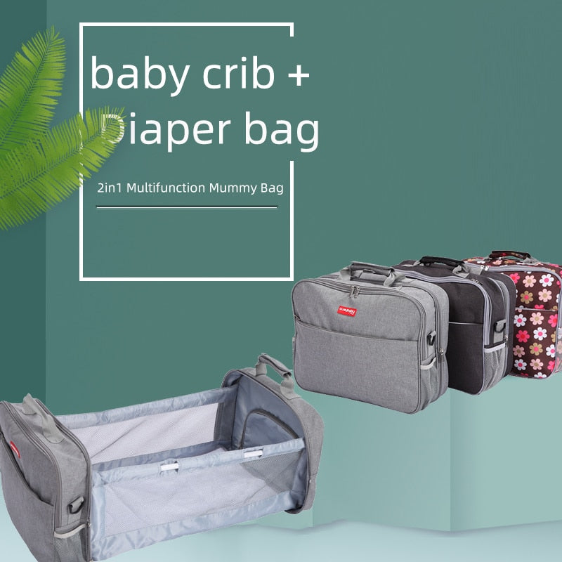 2in1 Multifunctional Diaper Bag Handbag Travel Portable Large Capacity Shoulder Mommy Folding Crib Bags Waterproof Stylish Pack