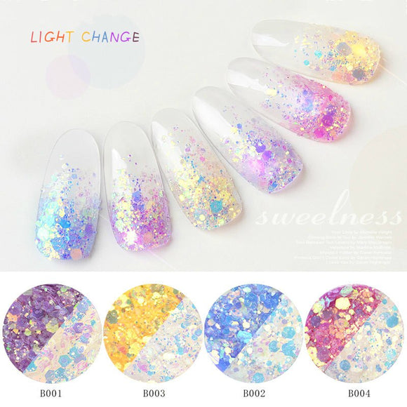 CHUNSHU Light Change Glitter Sequins Holographic Glitter/Laser/Powder Dust French UV Gel Polish Color Mixing Nail Art Ornaments