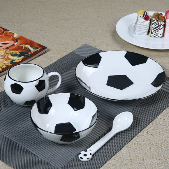 Creative Soccer Plate Bowl Cup Set Multi designs Basketball Volleyball Golf Dinnerware Ceramic Porcelain Children Tableware Set