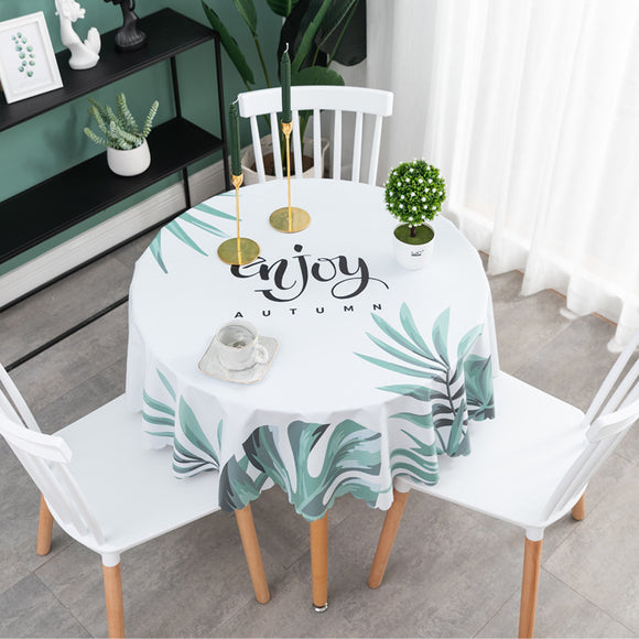 Round PVC Waterproof Tablecloth Home Decor Plastic Table Cover Oil Proof Party Dining Table Cloth European Style Table Cloth 1Pc