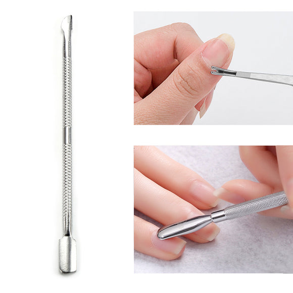 1PC Double Head Stainless Steel Nail Cuticle Pusher Spoon Remover Trimmer Dead Skin Manicure Pedicure Cleaner Nail Tool