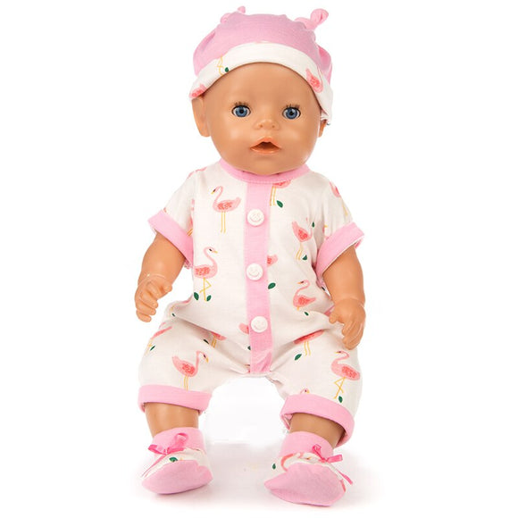 Fit 17 inch Baby New Born Doll Clothes Accessories 43cm 3 Sets of Bird Hat Top Suit + Shoes and Clothes For Baby Birthday Gift