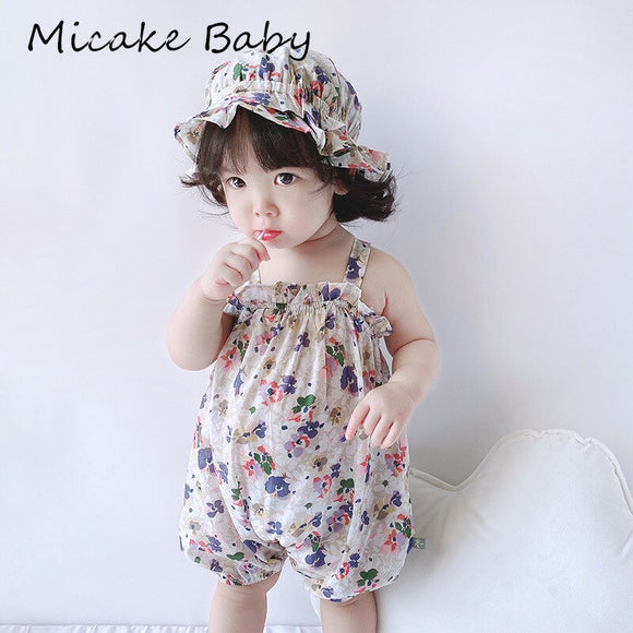 Summer Newborn Baby Girl Rompers With Hat Baby Cotton Floral Pullover Sleeveless Jumpsuit Toddler Baby Clothes Printing Romper