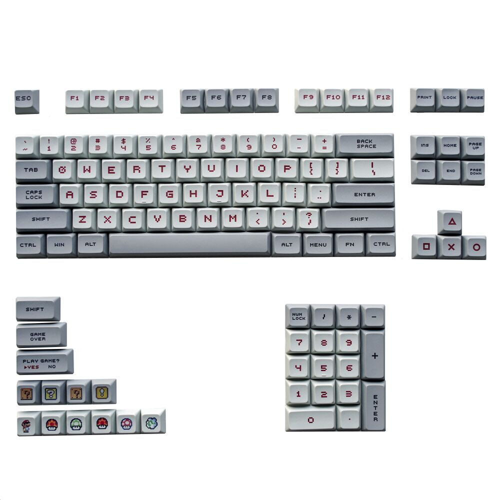 Keyboard keycaps PBT Keycaps Dye Sub and Profile Spacebar 6.25U for Mechanical Keyboard 104 87 60 Style Pattern Axis Body : Cherry Spacebar, Color : KIT 3