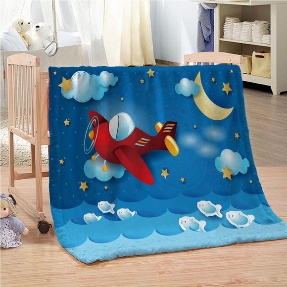 Blue Sky Space Moon Stars Fly Airplan Blanket Mat Tapestry Soft Throw Bedspread Beach Towel Warm Travel For Kids Boys  Girls