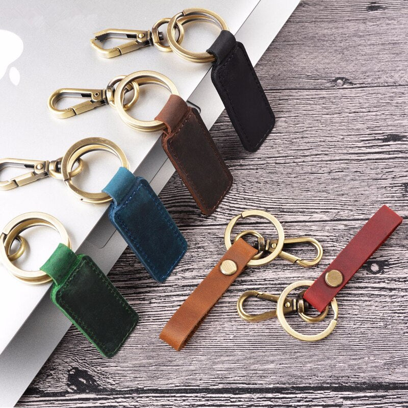 Leather Keychain Pocket For Car Keys Clip Ring Women Men Car Keychain Moto Motorcycle Handmade Car Accessories Key Ring  Keyring