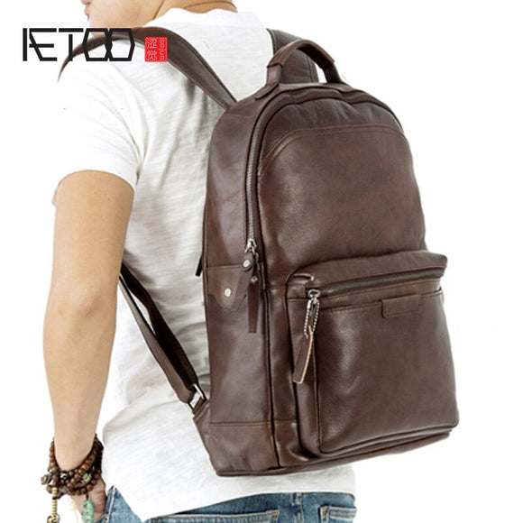 AETOO Retro chest bag male leather soft large capacity sports shoulder  bag casual leather large travel bag backpack