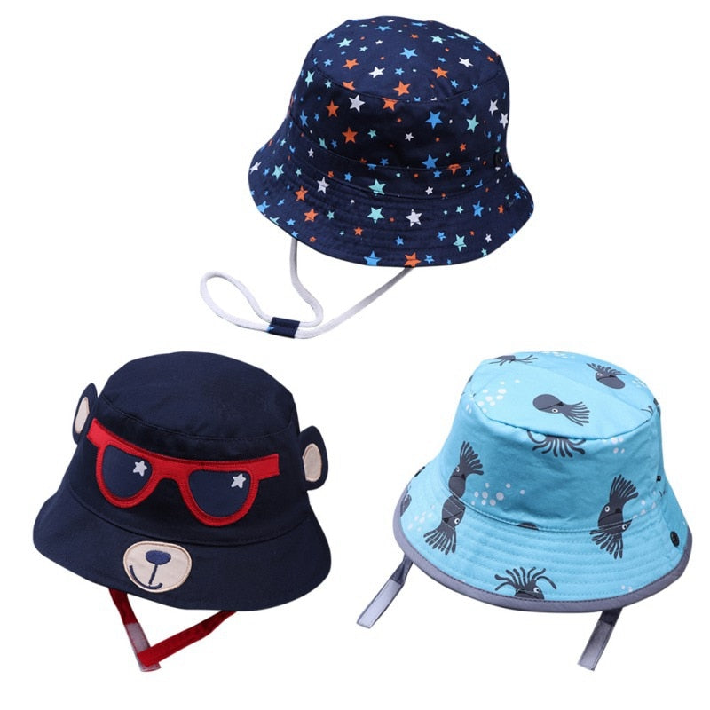 Cute Baby Hats Cool Panama Summer Baby Cap Boys Girls Print Caps Kids Cartoon Hat Sunhat Baby Hat Newborn Baby Accessories