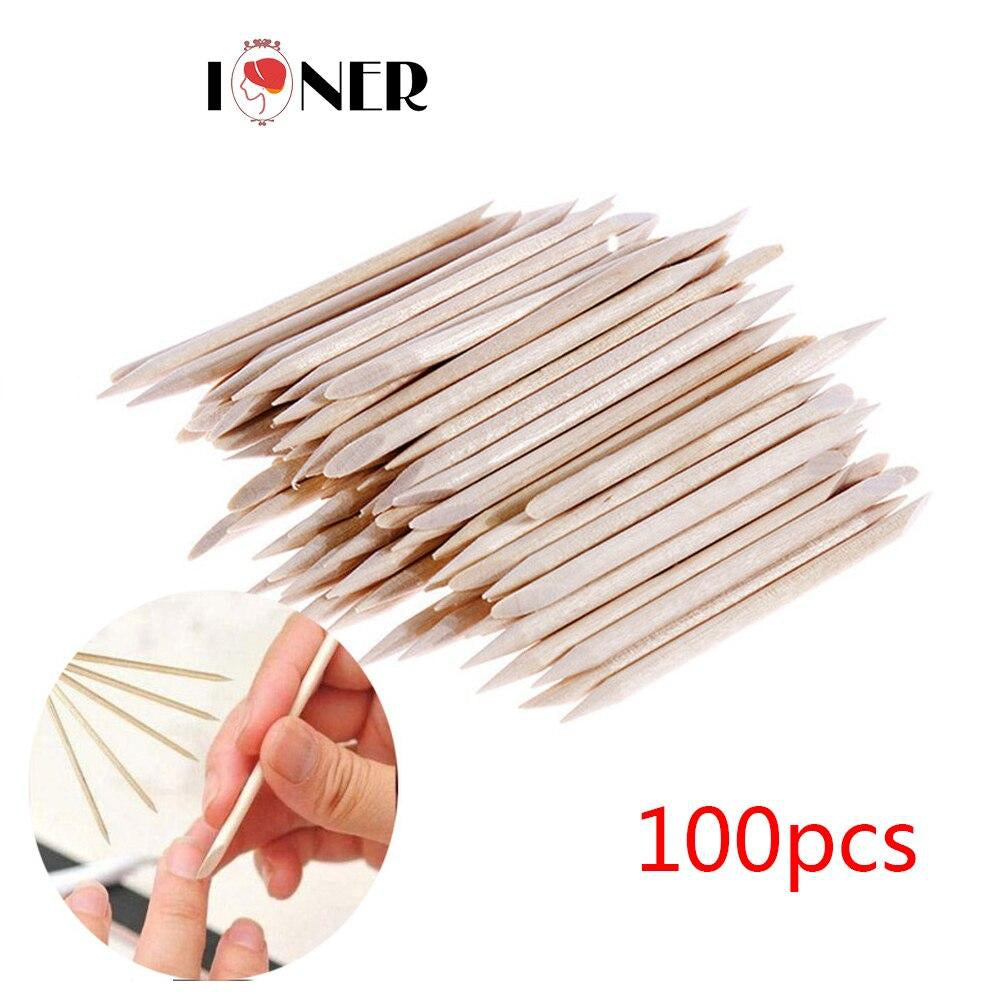 100Pcs Cuticle Pusher Remover Pedicure Manicure Tool Professional Nail Art Tool Double Sided Wood Stick Dead skin push Manicure