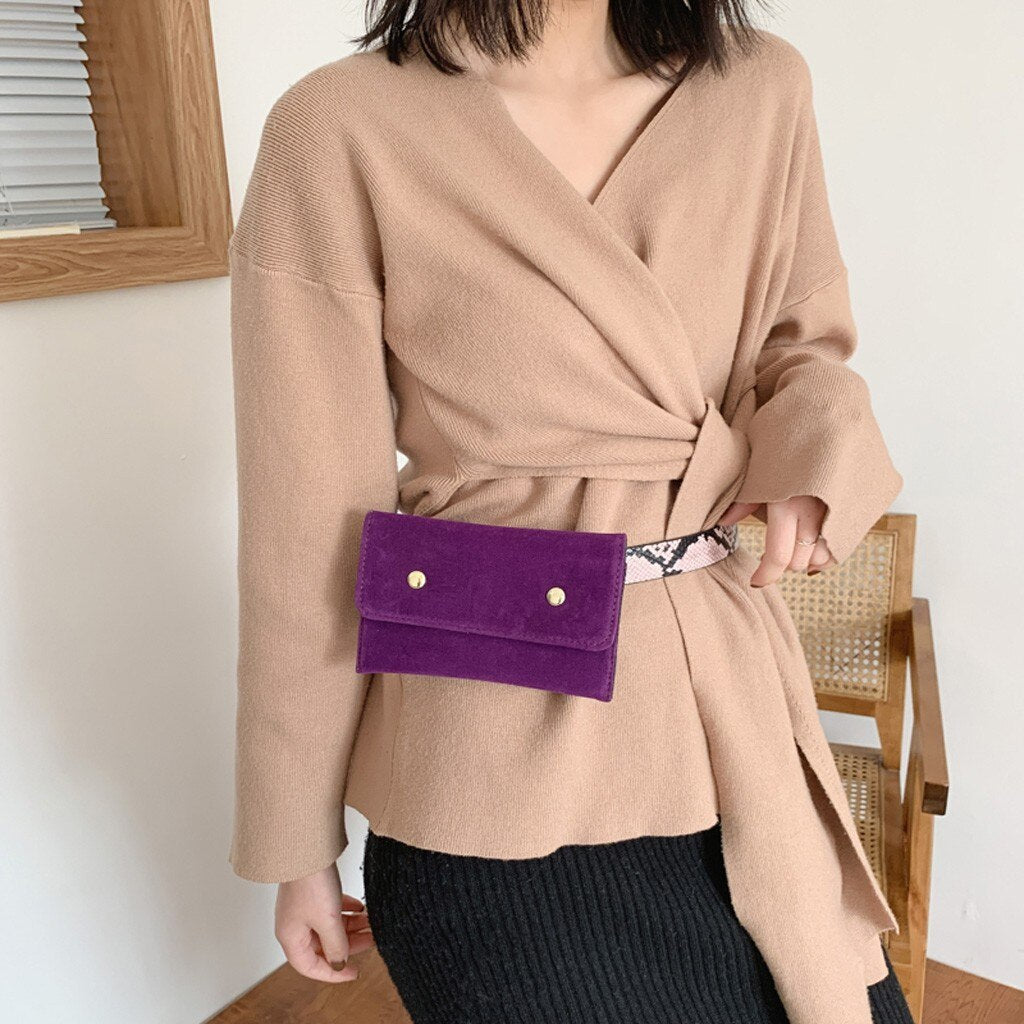 2019 Solid Fanny Pack Ladies Suede Waist Belt Bag women Mini Bag On A Belt luxury designer women chest bag   11.20