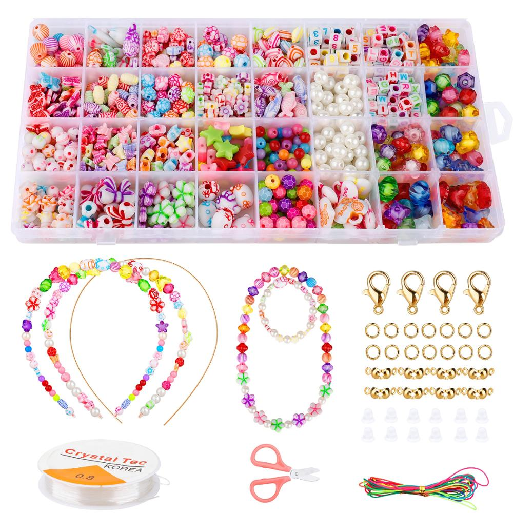 Kids Handmade DIY Toy 32 Styles Beads Set for DIY Jewellery Making Name Bracelets Necklace Craft Toy Children Education Toy Gift