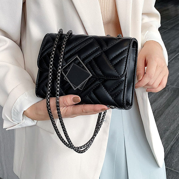 2019 Small Chain Shoulder Messenger Bag Lady Designer Luxury Lock Handbags Solid Color PU Leather Crossbody Bags for Women