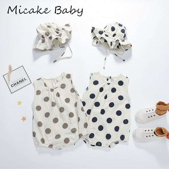 Summer Newborn Baby Girls Jumpsuit Cotton Sleeveless Infant Neutral Rompers with Hat Toddler Baby Polka Dot Jumpsuits Clothes