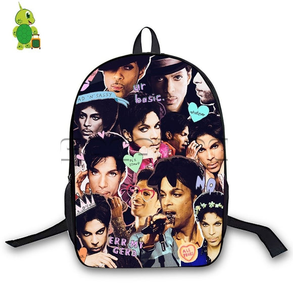 Prince Rogers Nelson Collages Backpack Women Men Daily Backpack Laptop Bags for Teenage Girls Boys Travel Bags Kids Book Bag