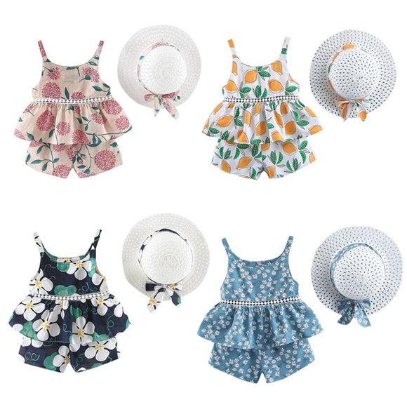Toddler Baby Kids Girls Floral Fruit Strap Tops Shorts Outfits Hat Casual Set Summer Baby Girls Clothing Set Children Clothes