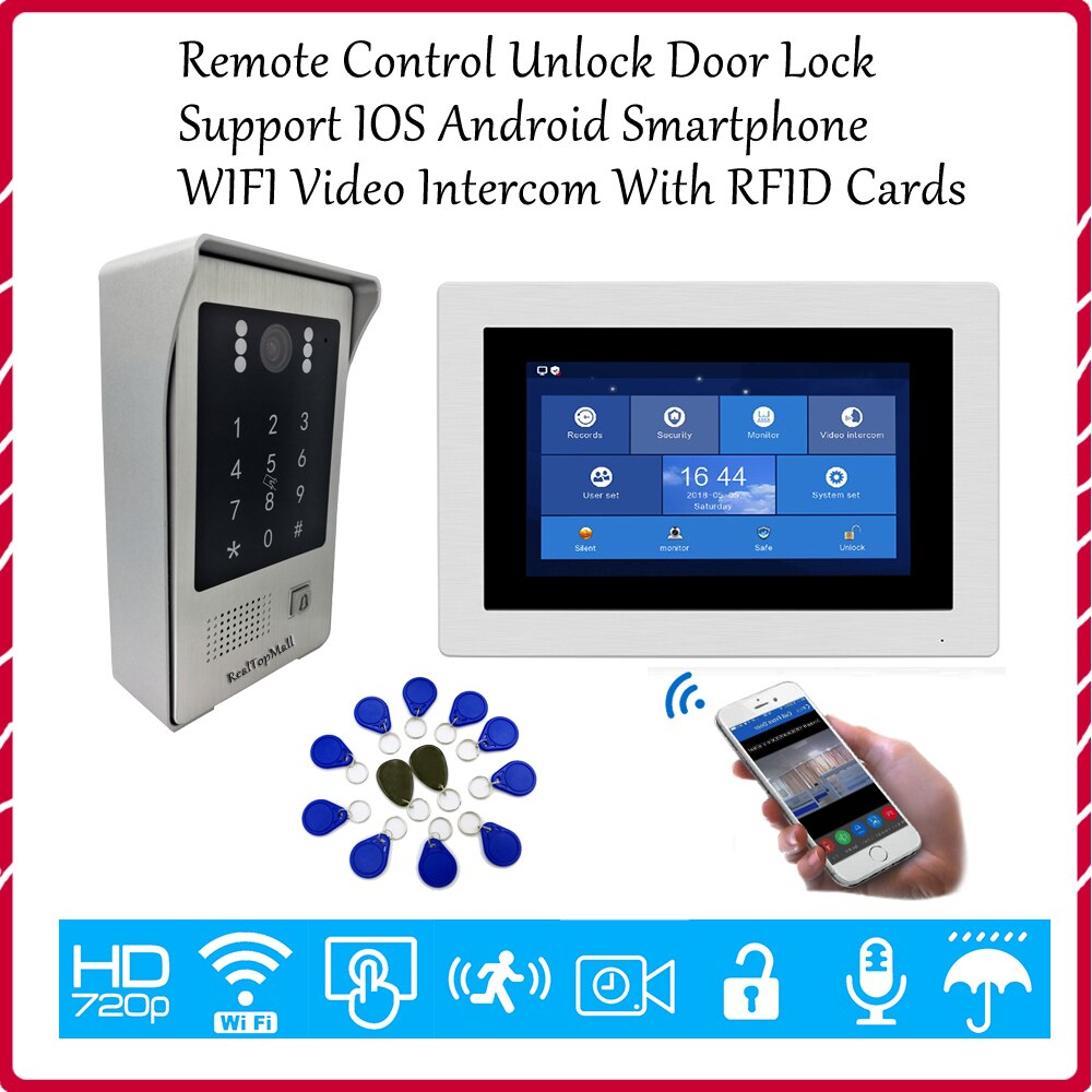 "720P WIFI IP 7"" Touch Screen Video Intercom Door Entry Security Intercom+RFID Access for House Remote Unlock Door Lock"
