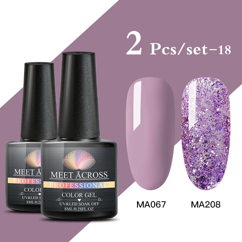 2pcs Color Nail Gel Set yellow purple Nude Color Glitter UV Gel Nail Polish Set Soak Off UV LED Gel Nail Polish Varnish Nail Art