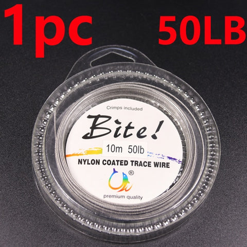 10LB-200LB Fishing line Wire Leader Vinyl Coated Stainless Steel 30LB Black