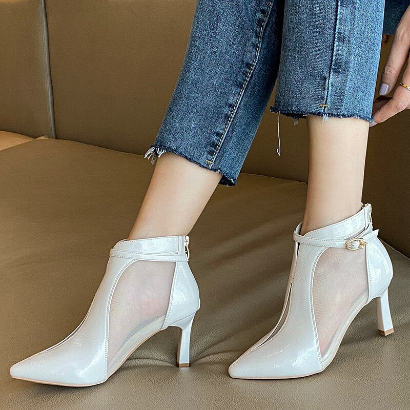 2020 Spring Black Beige Women High Heels Pointed Toe Luxury Pumps 7.5cm Stiletto Wedding Bridal Shoes Size 35-39 21804AYY4349