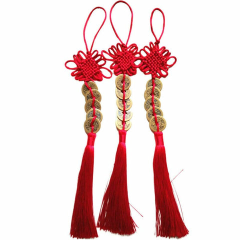 Chinese Knot Tassel Feng Shui good Luck 6 Coins Pendant Car Decor Hanging String