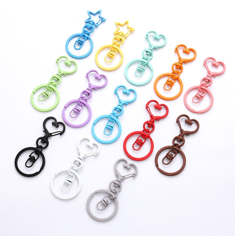 5pcs Color Paint Heart Keychains  Metal Binder Clips Key Ring DIY Women Fashion Jewelry Accessories Keychains Handmade