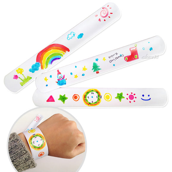 12 DIY Blank Slap Bracelets To Create Own Painting Style Bracelet Bracelets Party Favors Arts And Crafts Easter Kindergartens