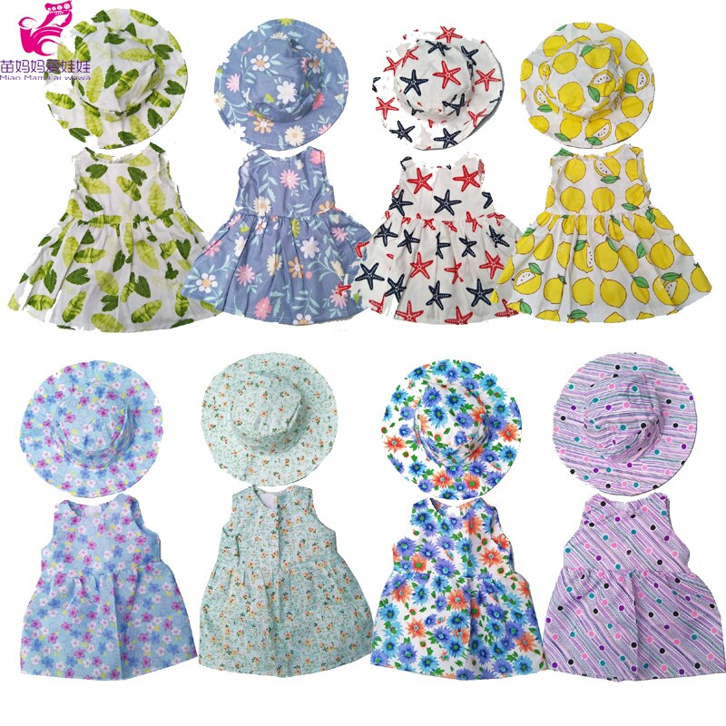 17inch Baby Doll Flower Dress Hat for 18 Inch Girl Doll Toys Dress Doll