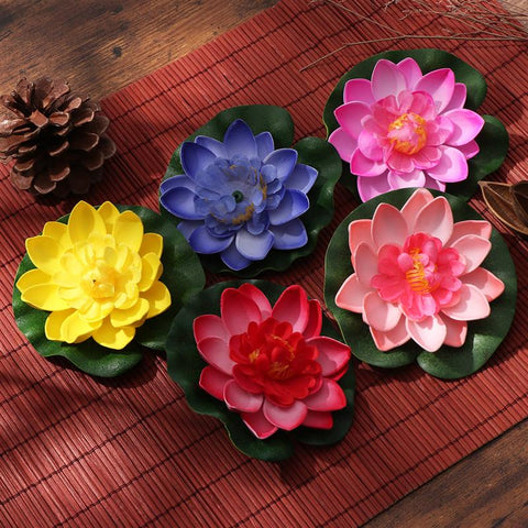Red//Yellow//Blue//Pink//Light Pink VORCOOL 5 Pieces Floating Flowers Artificial Water Lilies Eva Floating Lotus Pond Decor 10 cm
