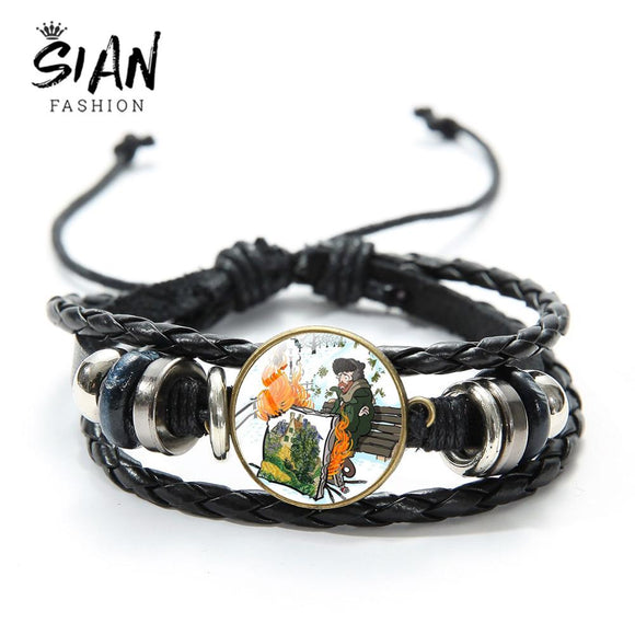 SIAN Anime Brahma Bracelelt Vintage Glass Cabochon Leather Bracelets Fashion Hand-Knitted Multi-Layer Leather Wristband For Kids