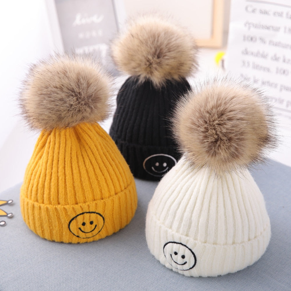 Children's Winter Hats For Boys Girls Knitted Wool Children Smiley Cap Baby Hat Pullover Caps Hot Selling Style Beanie