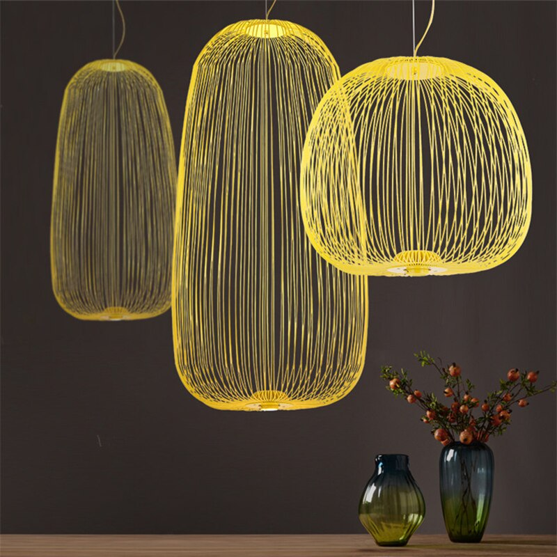 Modern Iron Bird Cage Pendant Lights Nordic Foscarini Spokes Led Hanging Lamps Loft Dining Room Kitchen Home Decor Light Fixture