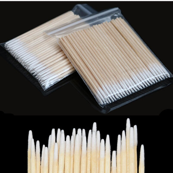 100/300pcs Wood Cotton Swab Cosmetics Permanent Makeup Health Medical Ear Jewelry Clean Sticks Buds Tip Wood Cotton Head Swab