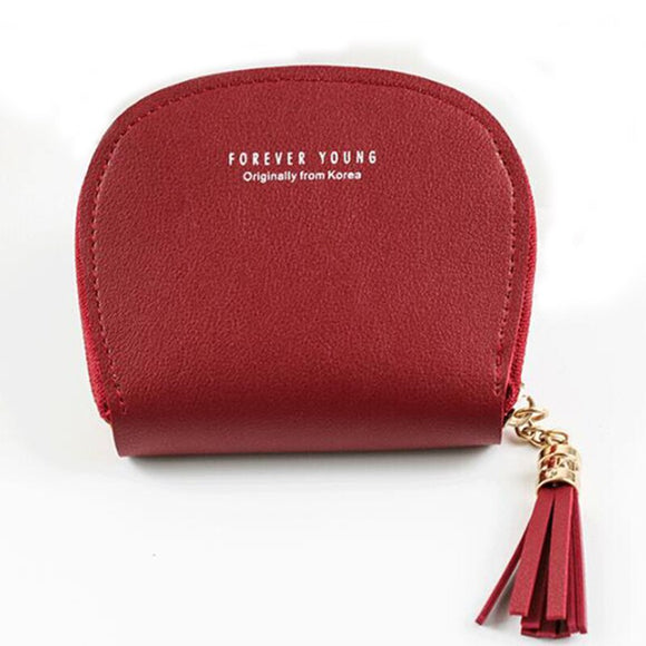 PU Coin Purse Women's Zip Tassel Simple Short Coin Bag Fashion Mini Student Wallet wallet Key card cash bag